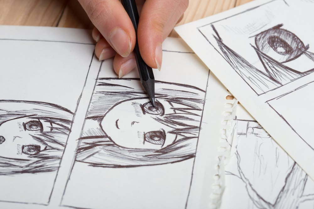 Start Sketching Out Your Character on Your Tablet or Drawing Pad your anime girl