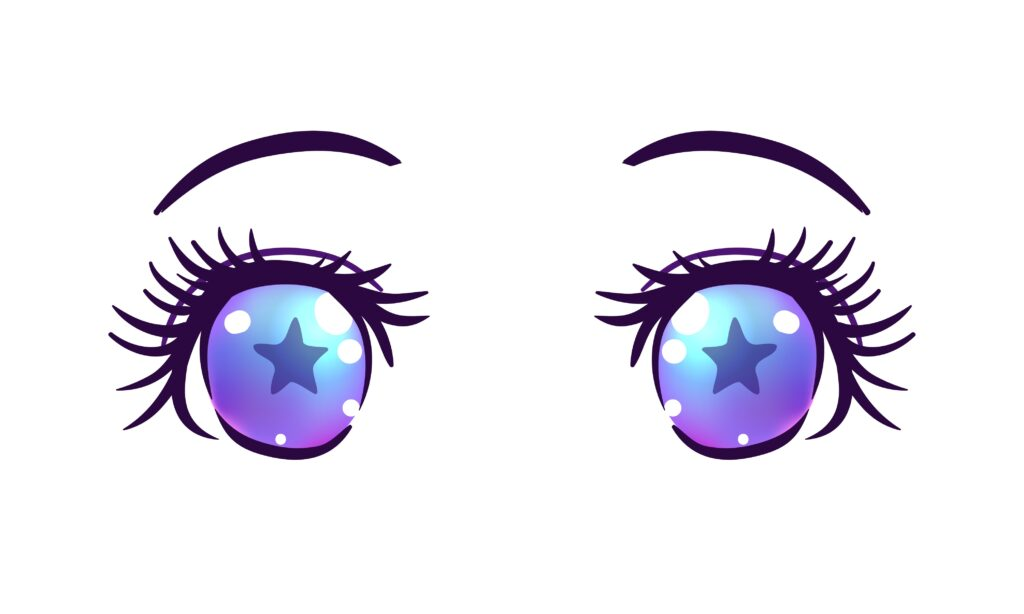 anime eyes is that their eyebrows have some slight differences compared to female anime characters